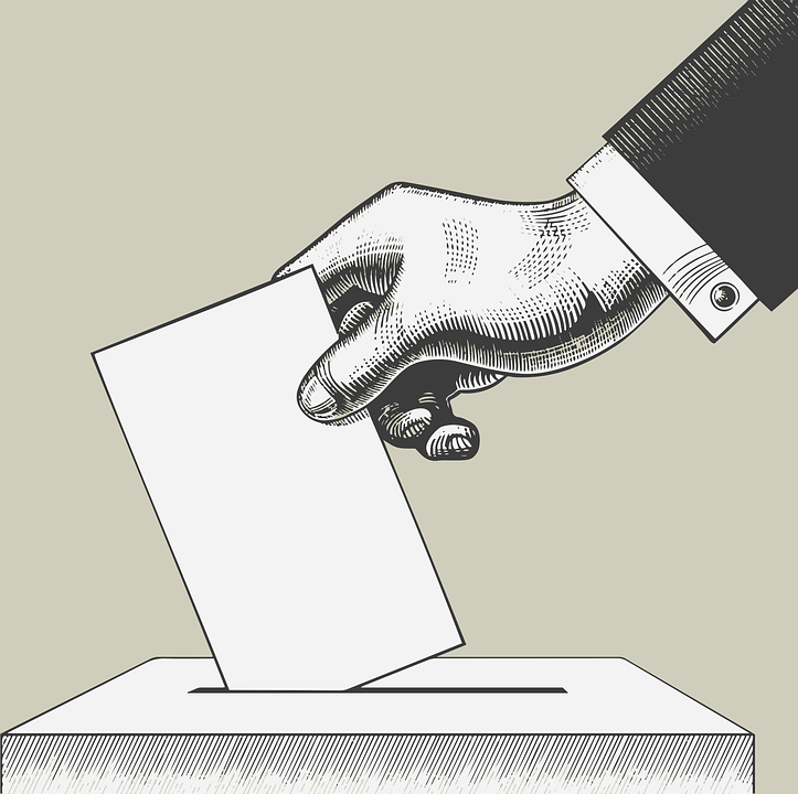 Cartoon polling box.