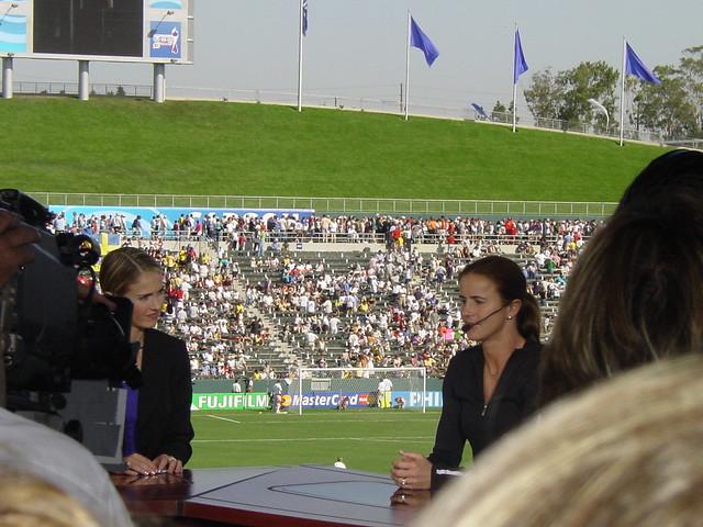 1999 FIFA Womens World Cup Hero Brandi Chastain doing an interview during a 2003 FIFA Womens World Cup Game