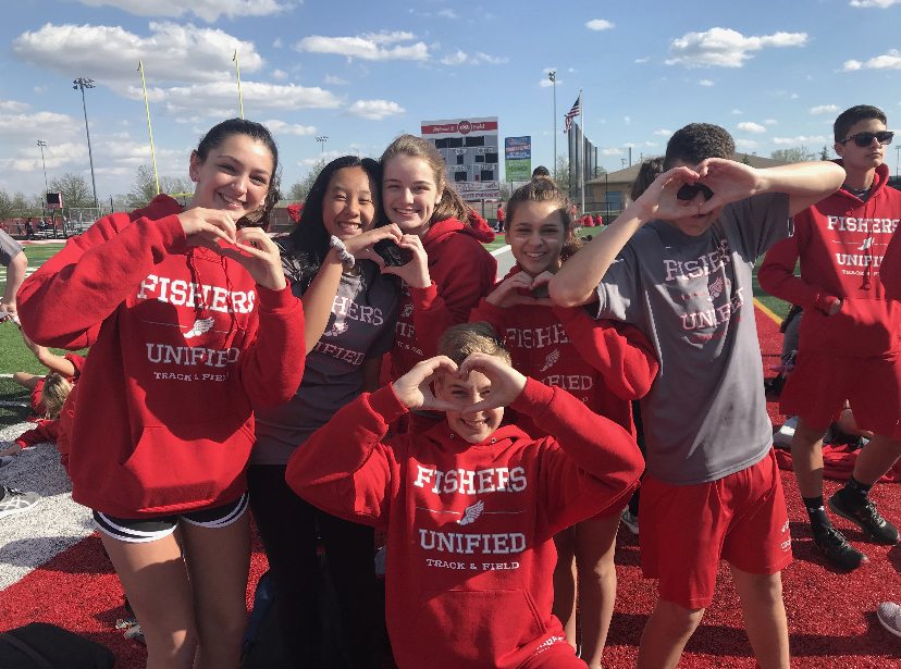 Team for Unified Track and Field poses for the camera.