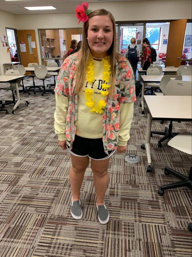 Kaylin: yellow lei $1, Hawaiian shirt $15, Nike shorts $22.50, vans $50.