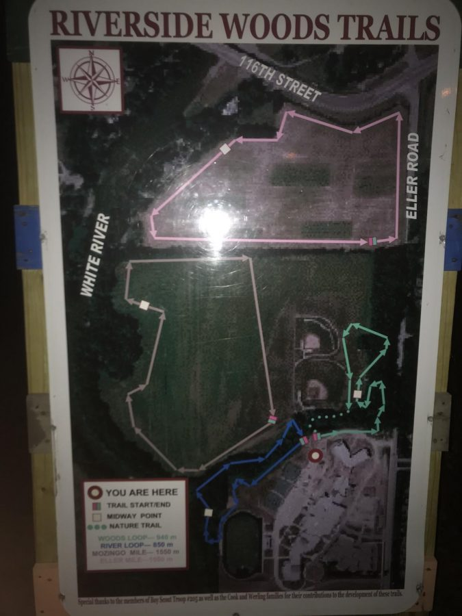 A map of trails running to and from the White River at Riverside Junior High School.