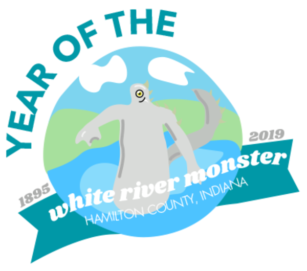 A graphic created by Visit Hamilton County depicting the White River monster