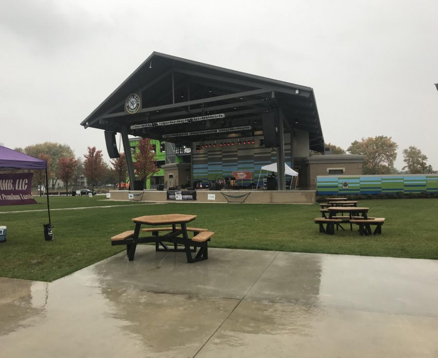 Nickel Plate amphitheater, the center of the market, is vacant due to bad weather on the final day of the farmers market.