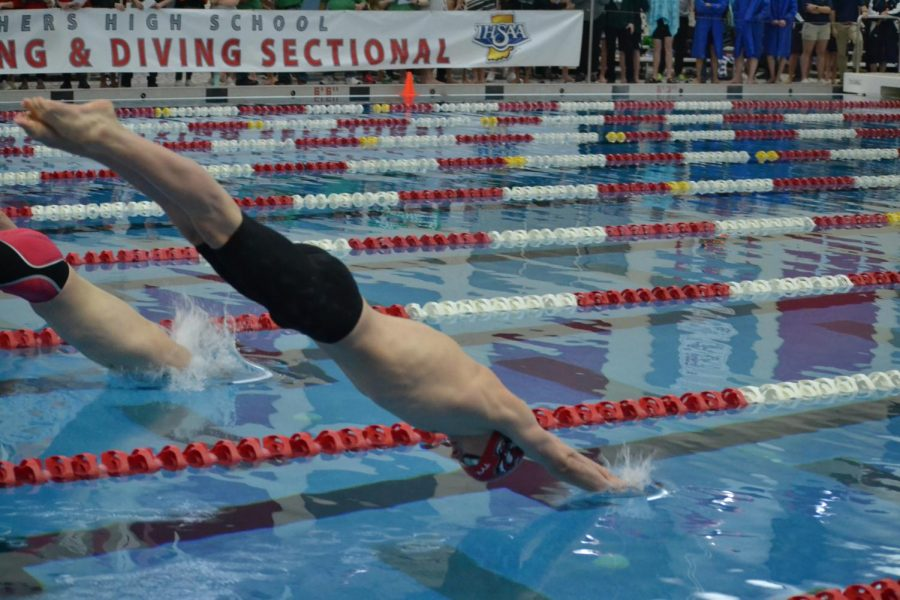 Junior Jackson Carlile dives into the water for the 500 freestyle, he placed first in the event.