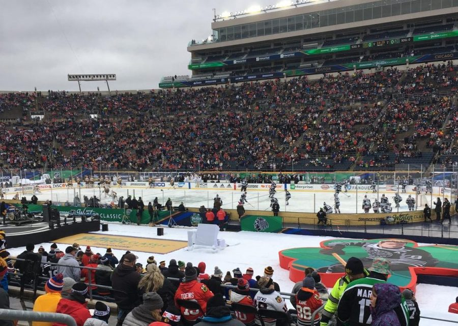 People gather to watch the 2019 Winter Classic on Jan. 1 at Notre Dame Stadium.