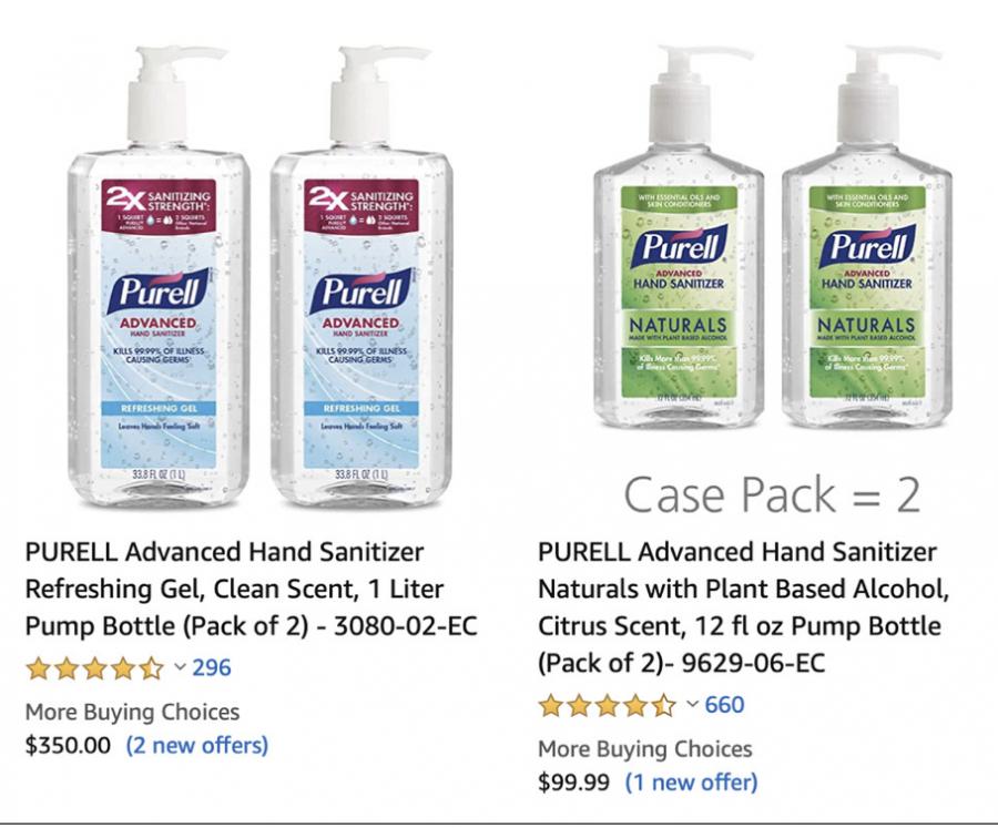 Screenshot of the price of hand sanitizer skyrocketing on Amazon.