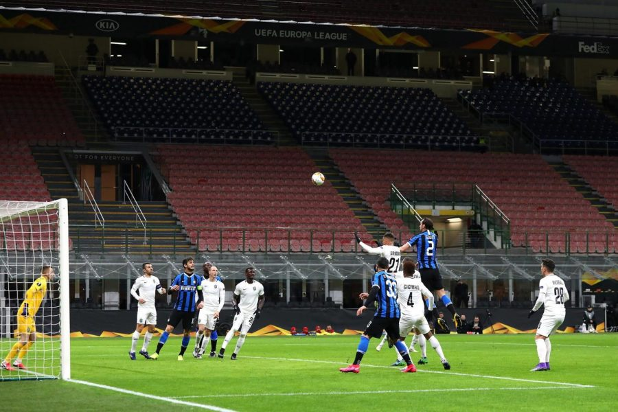 Soccer match between Juventus and Inter Milan played without spectators in Milan, Italy on March 9.