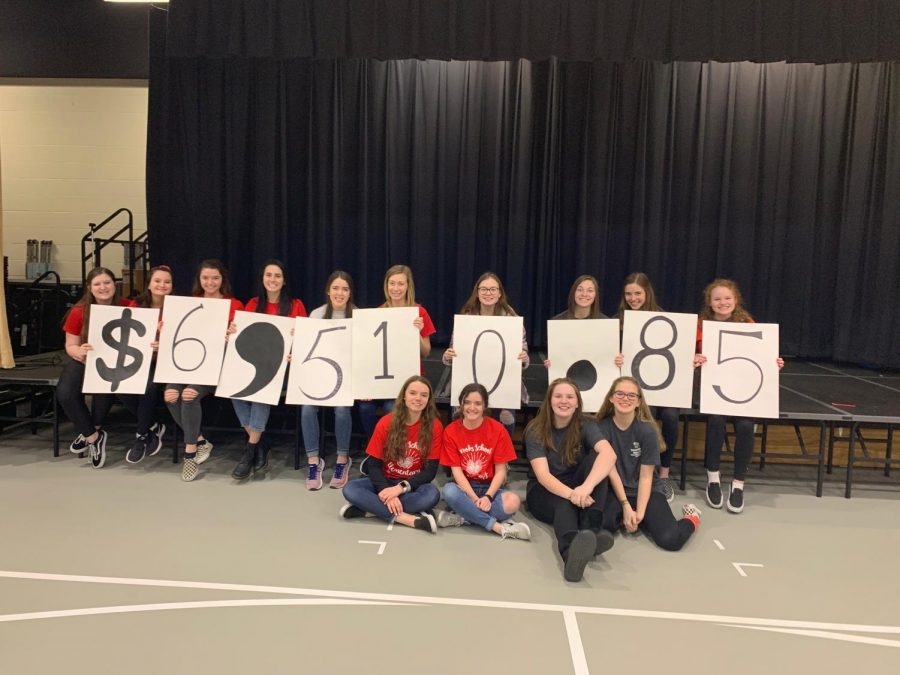 While at a mini dance marathon event, Riley Dance Marathon committee members hold up the amount raised by one of the elementary schools.