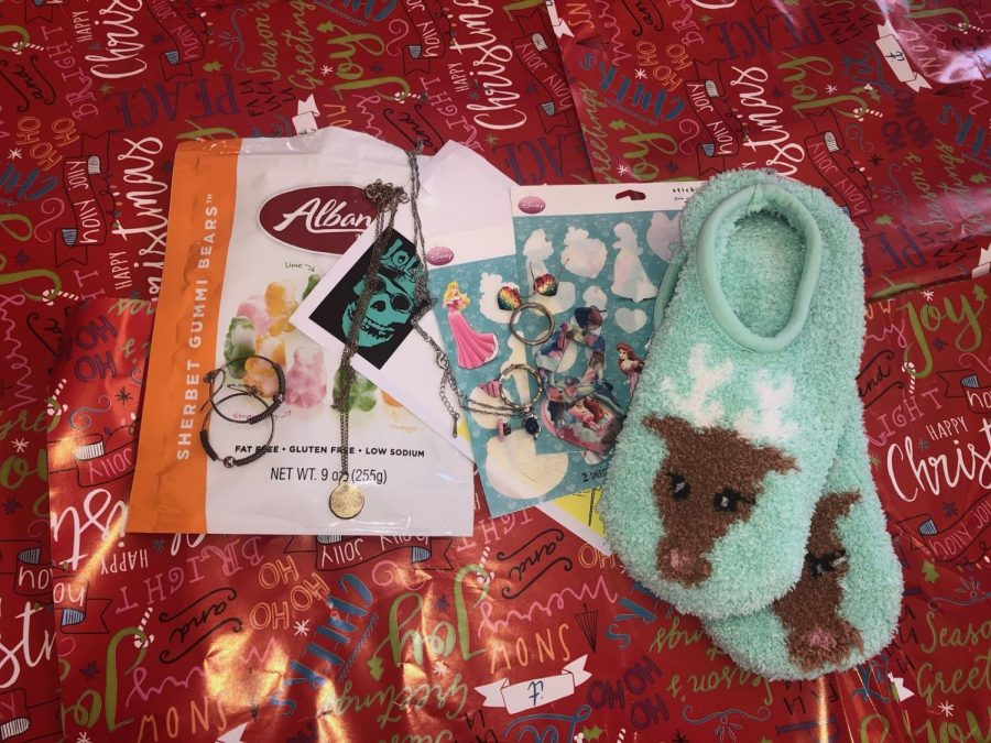 Presents such as slippers and candy  were received by Alison Casey in a Secret Santa last year.