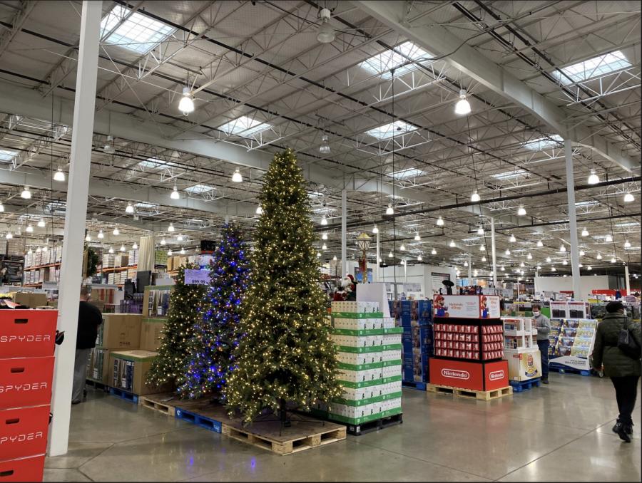 Costco Wholesale in Indianapolis designates aisles to display Christmas decorations on Nov. 1.