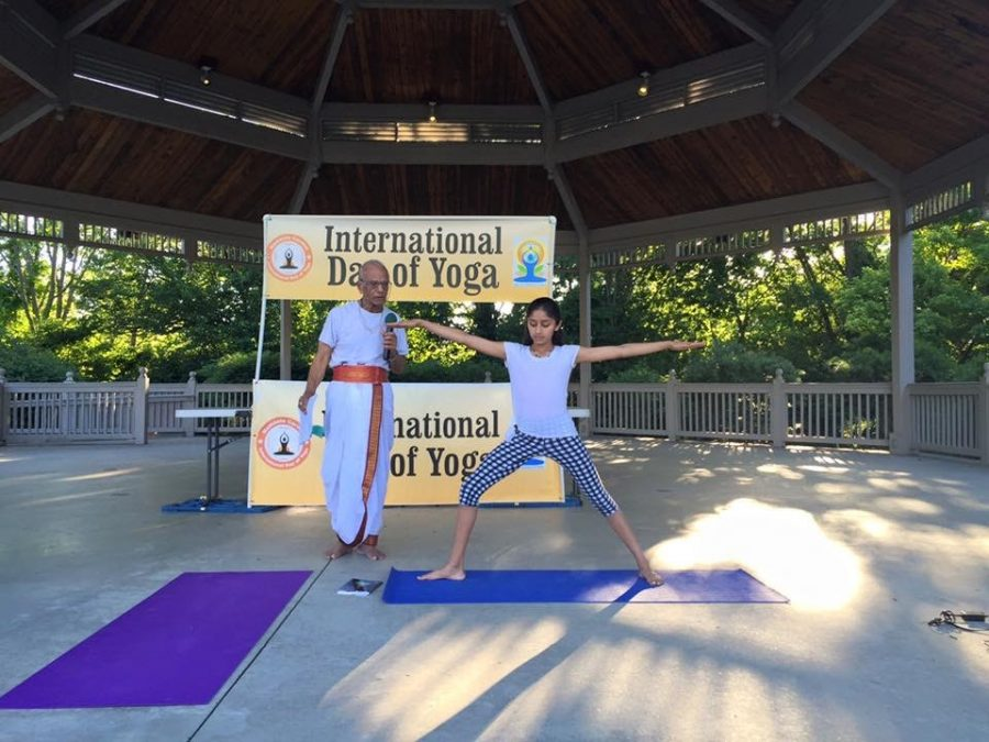 Sophomore Nithya Murthy participates in the International Day of Yoga in June 2018.