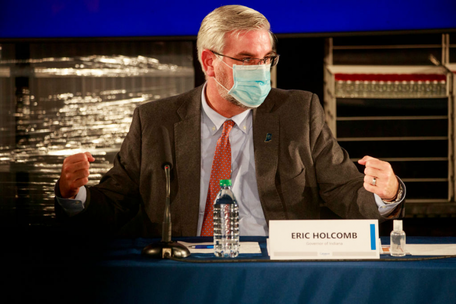 Gov. Holcomb participates in a roundtable discussion in Bloomington, IN on Dec. 15, 2020.
