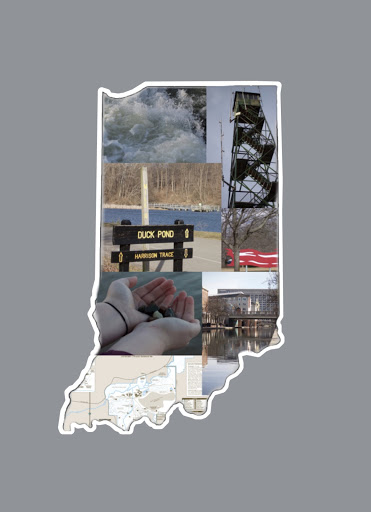 A collage arranged in the shape of Indiana includes pictures from Eagle Creek Park, Brown County State Park, Cataract Falls, the Canal Walk and Fort Harrison State Park, all of which are located in Indiana.