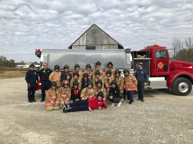 Academy students come together for a photo after completing their day of training with the Fishers Fire Department in 2019.