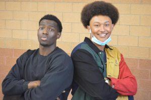 Junior Myles Stringer (left) and Senior Blake Jones (right) dressed for decades day.