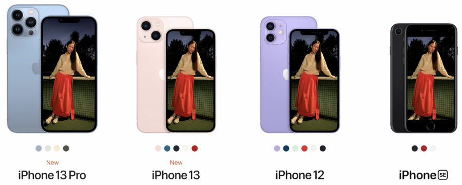 iPhone line-up featuring new iPhone 13 and colors against other models.